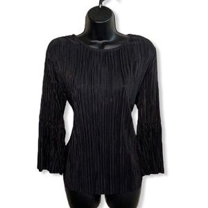 Vince Camuto Flared Ribbed Black Blouse